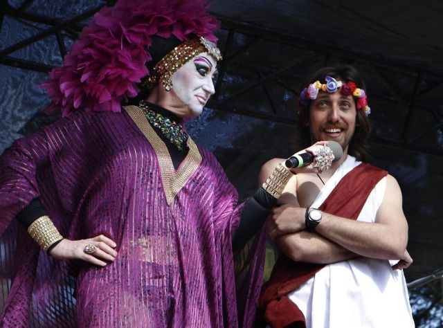 Hunky Jesus contestant Tiago Afonso, right,  speaks with one of the judges Sister Roma during the 37th annual Easter in the Park celebration put on by the Sisters of Perpetual Indulgence in San Francisco, Calif., on Sunday March 27, 2016. Photo: Brittany Murphy, The Chronicle