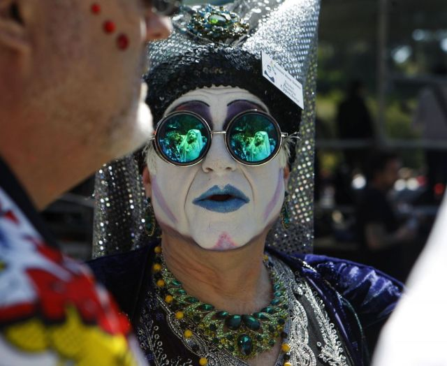 Sister Beatrix Uppersleeve, of the Russian River Sisters, attends the 37th annual Easter in the Park celebration put on by the Sisters of Perpetual Indulgence in San Francisco, Calif., on Sunday March 27, 2016. Photo: Brittany Murphy, The Chronicle