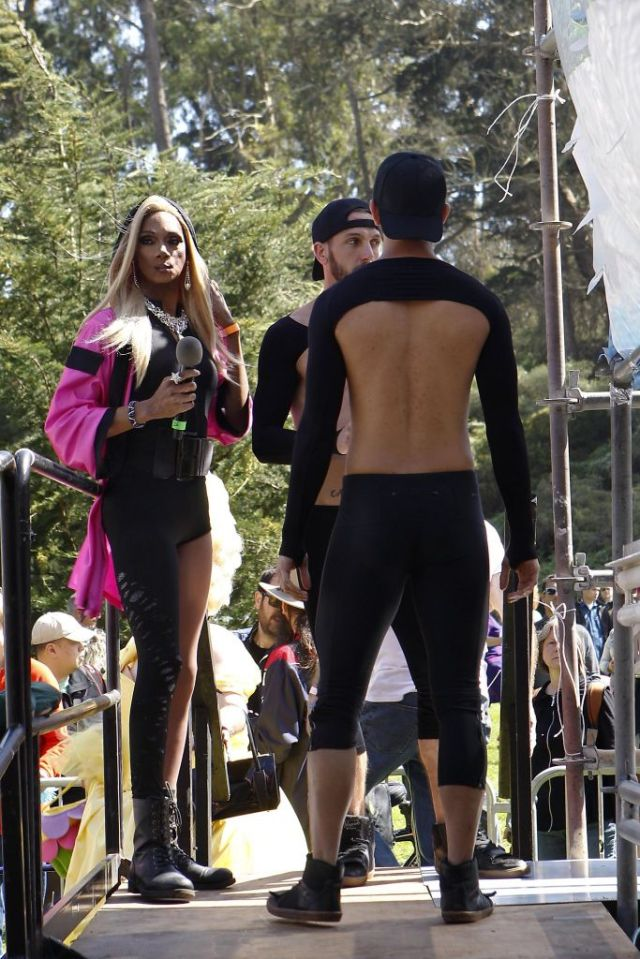 Singer Bebe Sweetbriar, left, and her dancers Jason Urso, center, and Thomas Julio Rodriguez, wait backstage before performing during the 37th annual Easter in the Park celebration put on by the Sisters of Perpetual Indulgence in San Francisco, Calif., on Sunday March 27, 2016. Photo: Brittany Murphy, The Chronicle