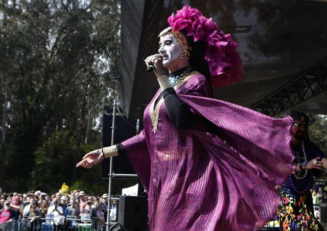 Sister Roma addresses the crowd gathered in Golden Gate Park prior to starting the Hunky Jesus Competition during the 37th annual Easter in the Park celebration put on by the Sisters of Perpetual Indulgence in San Francisco, Calif., on Sunday March 27, 2016. Photo: Brittany Murphy, The Chronicle
