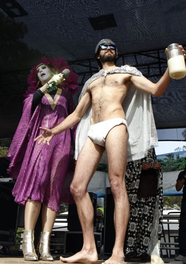 Sister Roma presents a Hunky Jesus contestant on stage at the 37th annual Easter in the Park celebration put on by the Sisters of Perpetual Indulgence in San Francisco, Calif., on Sunday March 27, 2016. Photo: Brittany Murphy, The Chronicle
