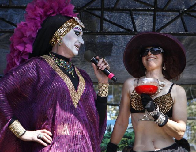 "Sister Roma, left, introduces ""Bloody Mary"", a contestant in the Foxy Mary Competition held during the 37th annual Easter in the Park celebration put on by the Sisters of Perpetual Indulgence in San Francisco, Calif., on Sunday March 27, 2016. Photo: Brittany Murphy, The Chronicle"
