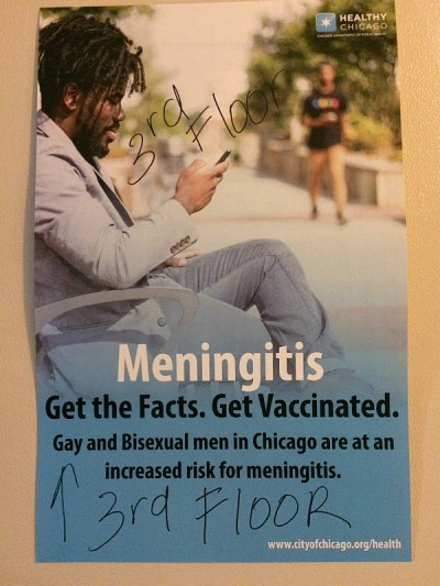 Disease Follows Depravity: Poster warns IML attendees of the increased risk for meningitis